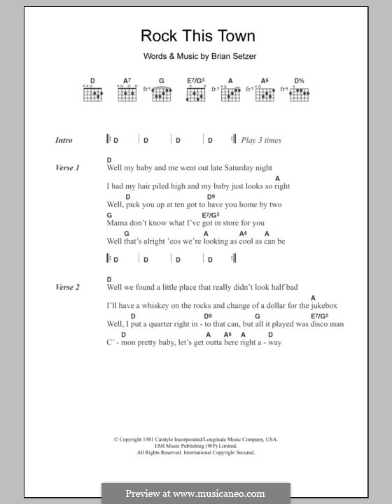 Rock This Town (Stray Cats): Lyrics and chords by Brian Setzer