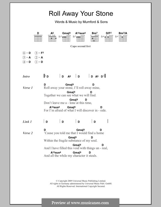 Roll Away Your Stone (Mumford & Sons): Lyrics and chords by Marcus Mumford