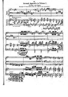 Prelude and Fugue No.3 in E Minor, BWV 533: Appendix by Johann Sebastian Bach