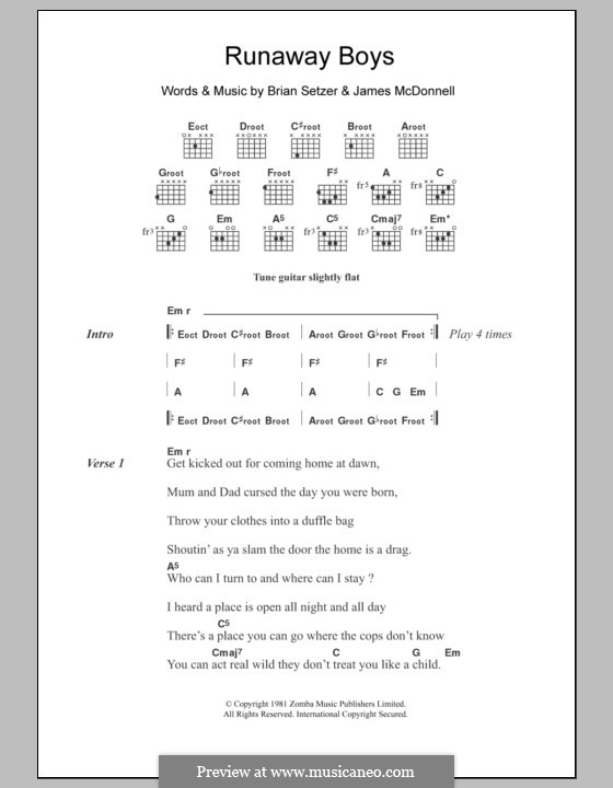 Runaway Boys (Stray Cats): Lyrics and chords by Brian Setzer, James McDonnell