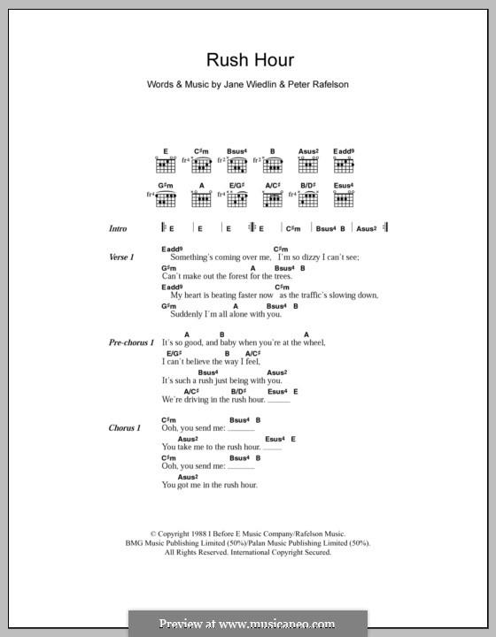 Rush Hour: Lyrics and chords by Jane Wiedlin, Peter Rafelson