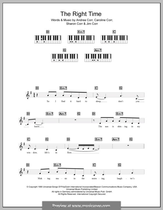 The Right Time (The Corrs): For keyboard by Andrea Corr, Caroline Corr, Jim Corr, Sharon Corr