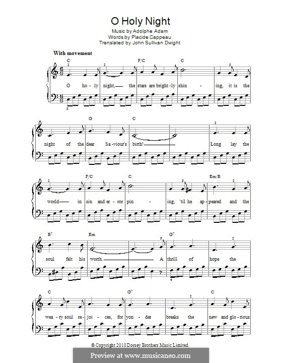 O Holy Night, for Piano: Version for easy piano (C Major) by Adolphe Adam