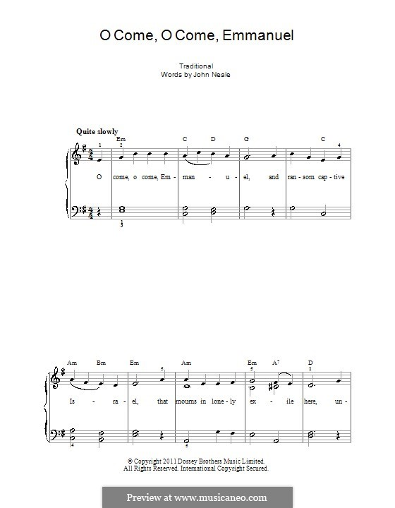 O Come, O Come, Emmanuel: For easy piano (with fingering) by folklore