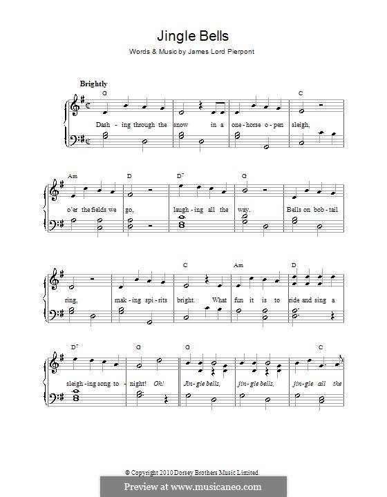Jingle Bells, for Piano: Version for easy piano (with chords) by James Lord Pierpont