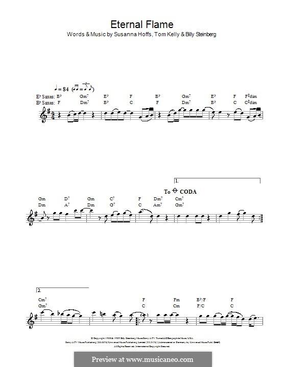 Eternal Flame: For saxophone by Billy Steinberg, Susanna Hoffs, Tom Kelly