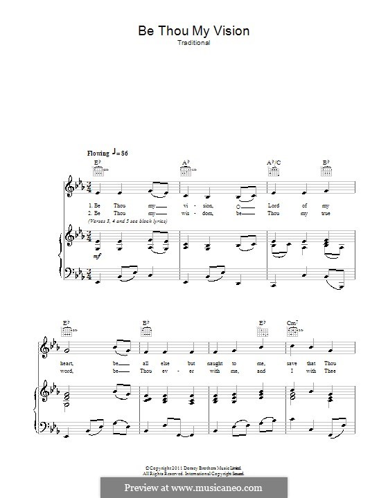 Be Thou My Vision (Printable scores): For voice and piano (or guitar) by folklore