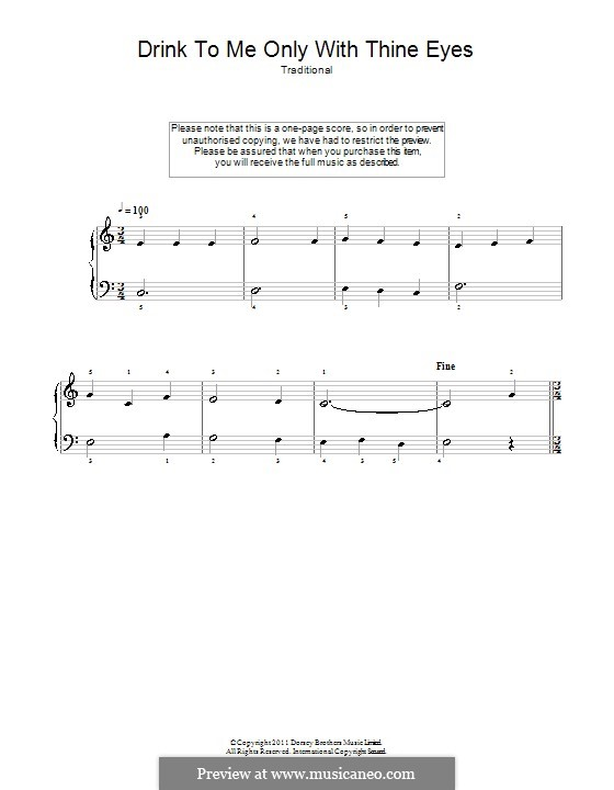 Drink to Me Only with Thine Eyes: For easy piano by folklore
