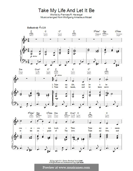 Take My Life and Let It Be: For voice and piano (or guitar) by Wolfgang Amadeus Mozart