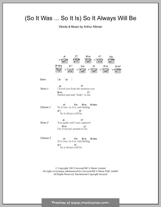So It Was...So It Is / So It Always Will Be (The Everly Brothers): Lyrics and chords by Arthur Altman