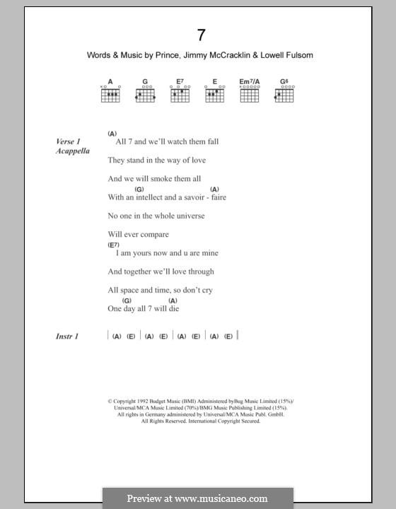 7: Lyrics and chords by Prince, Jimmy McCracklin, Lowell Fulson