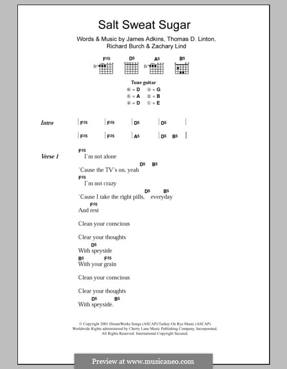 Salt Sweat Sugar (Jimmy Eat World): Lyrics and chords by James Adkins, Richard Burch, Thomas D. Linton, Zachary Lind
