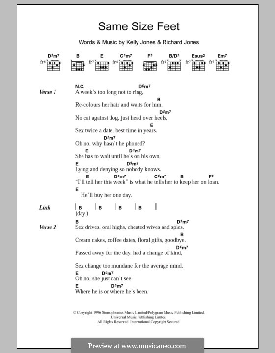 Same Size Feet (Stereophonics): Lyrics and chords by Kelly Jones, Richard Jones