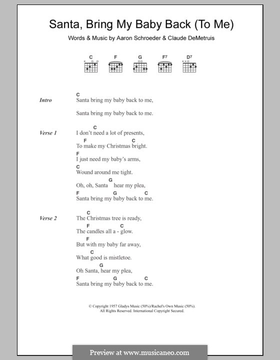 Santa, Bring My Baby Back (To Me) by A. Schroeder, C. DeMetruis on ...
