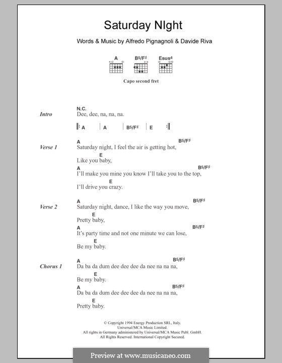 Saturday Night (Whigfield): Lyrics and chords by Alfredo Pignagnoli, Davide Riva