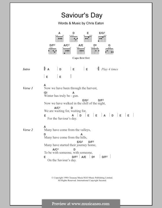 Saviour's Day (Cliff Richard): Lyrics and chords by Chris Eaton