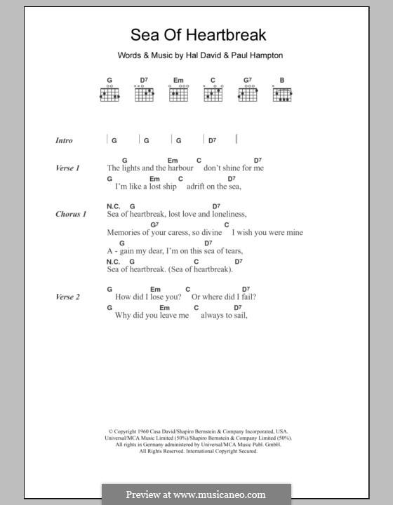 Sea of Heartbreak (Don Gibson): Lyrics and chords by Hal David, Paul Hampton