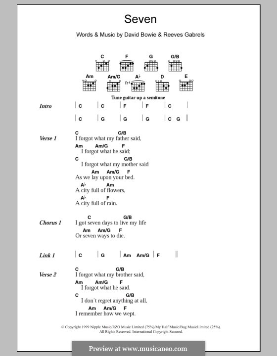 Seven: Lyrics and chords by David Bowie, Reeves Gabrels