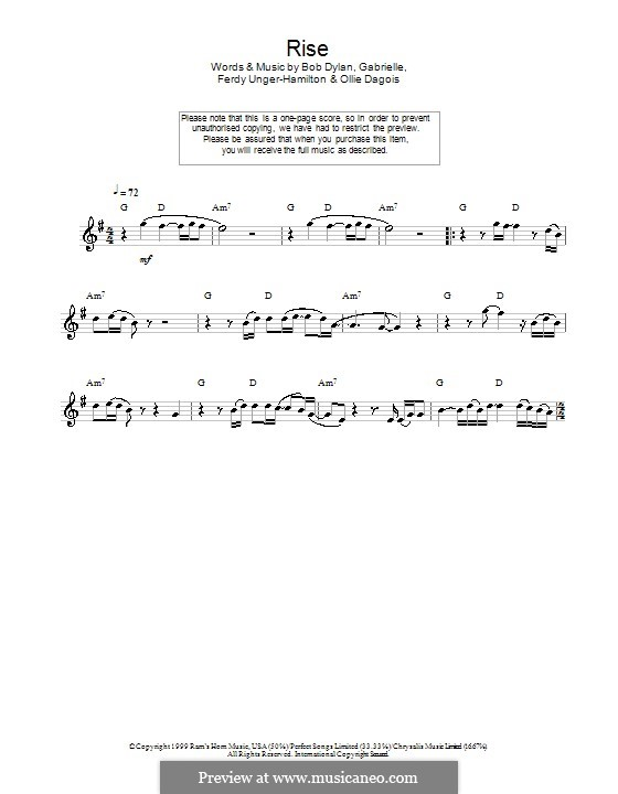 Rise: For flute by Gabrielle, Bob Dylan, Ferdy Unger-Hamilton, Ollie Dagois