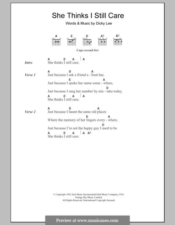 She Thinks I Still Care (George Jones): Lyrics and chords by Dickey Lee