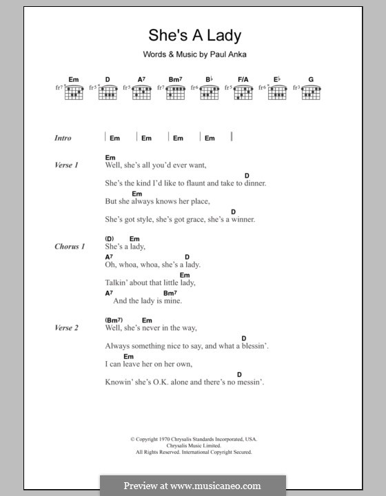 She's a Lady (Tom Jones): Lyrics and chords by Paul Anka