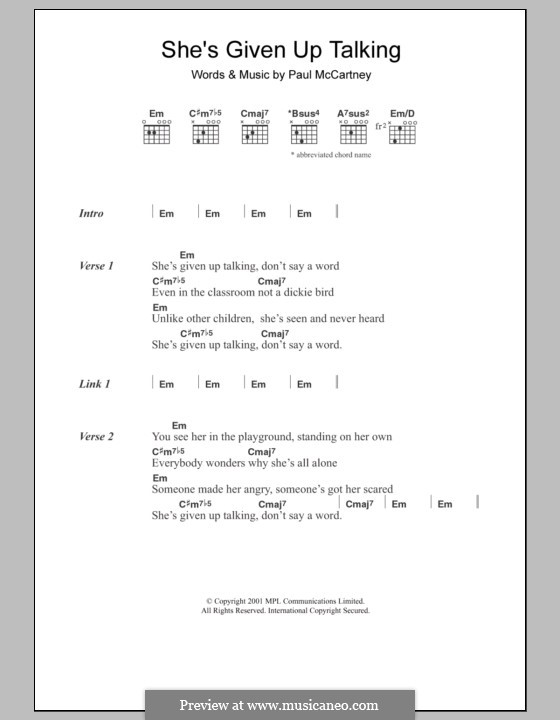 She's Given Up Talking: Lyrics and chords by Paul McCartney