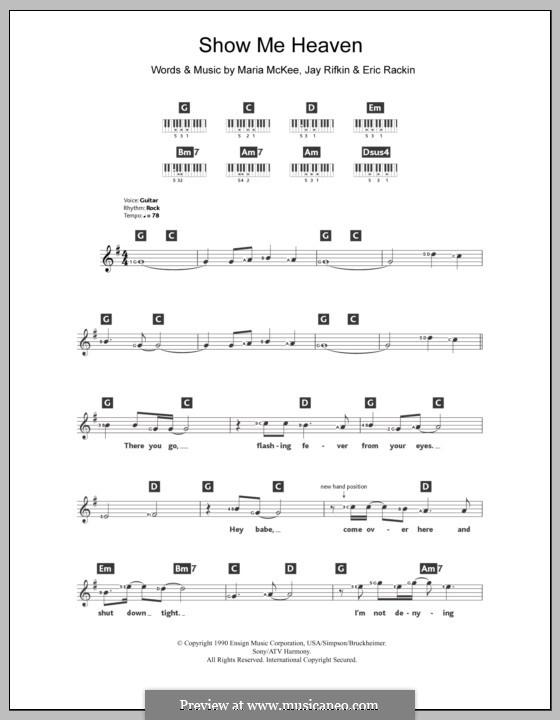 Show Me Heaven: For keyboard by Eric Rackin, Jay Rifkin, Maria McKee