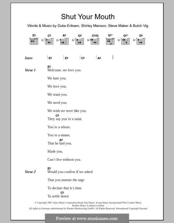 Shut Your Mouth (Garbage): Lyrics and chords by Butch Vig, Duke Erikson, Shirley Ann Manson, Steve Maker