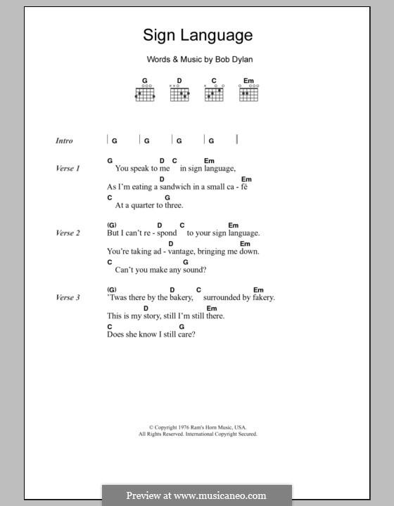 Sign Language: Lyrics and chords by Bob Dylan