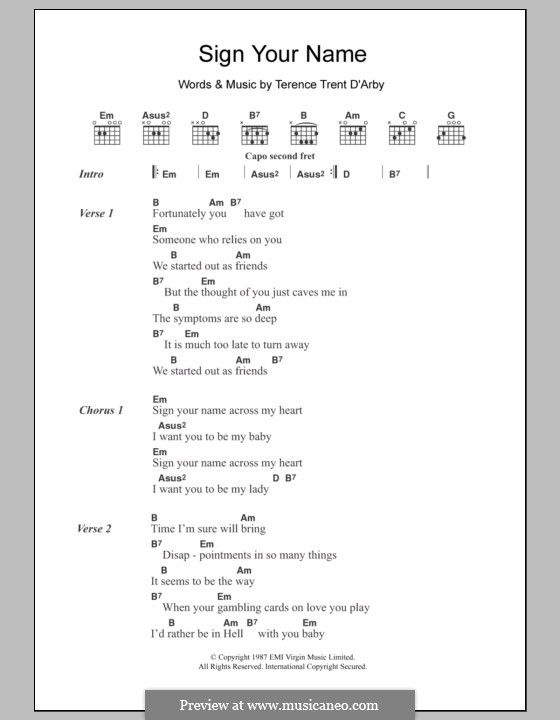 Sign Your Name: Lyrics and chords by Terence Trent D'Arby