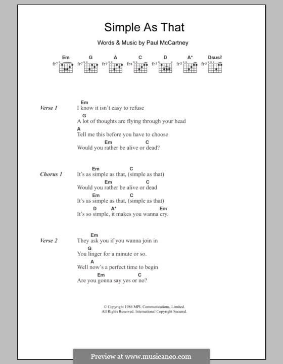Simple as That: Lyrics and chords by Paul McCartney