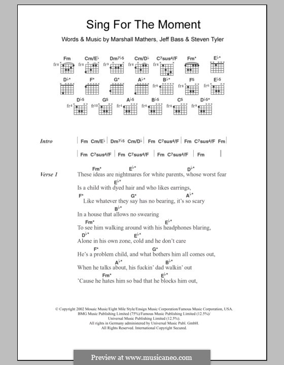 Sing for the Moment (Eminem): Lyrics and chords by Jeffrey Bass, Marshall Mathers, Steven Tyler