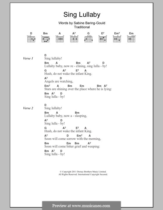 Sing Lullaby: Lyrics and chords by folklore
