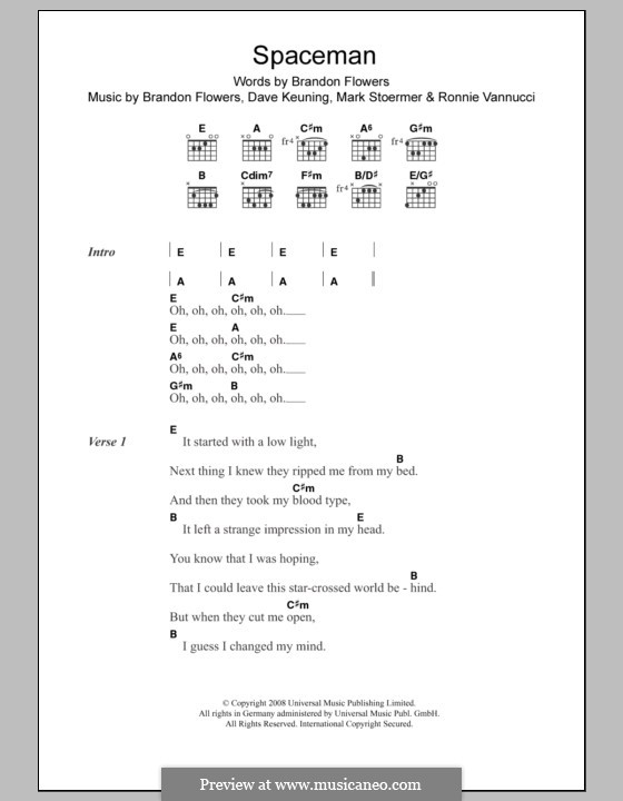 Spaceman (The Killers): Lyrics and chords by Brandon Flowers, Dave Keuning, Mark Stoermer, Ronnie Vannucci