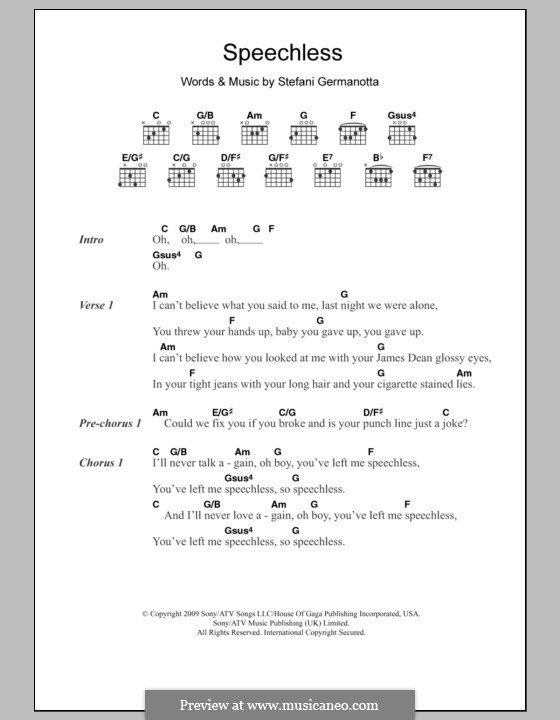 Speechless Lady Gaga By S Germanotta Sheet Music On Musicaneo