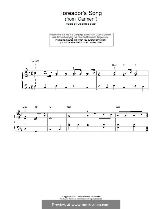 Toreador's Song: For easy piano (with chords) by Georges Bizet