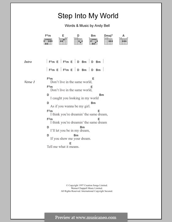 Step Into My World: Lyrics and chords (Hurricane No.1) by Andy Bell