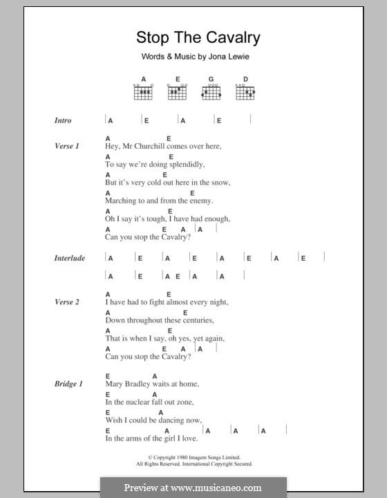 Stop the Cavalry: Lyrics and chords by Jona Lewie