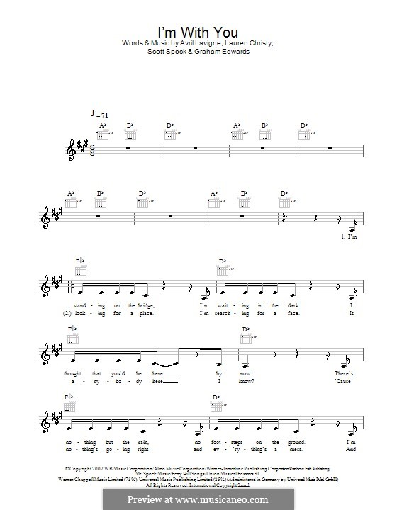 I'm with You: Melody line, lyrics and chords by Avril Lavigne, Graham Edwards, Lauren Christy, Scott Spock