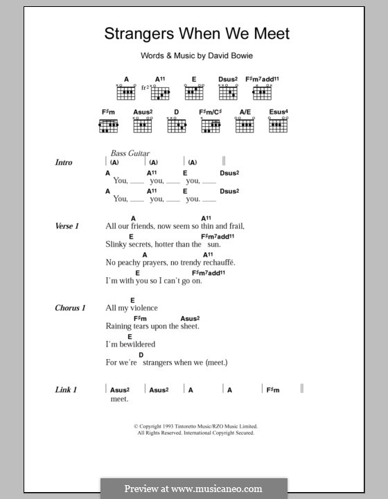 Strangers When We Meet: Lyrics and chords by David Bowie