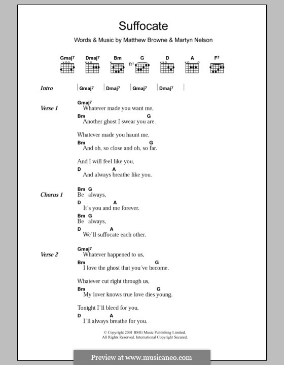 Suffocate (King Adora): Lyrics and chords by Martyn Nelson, Matthew Browne
