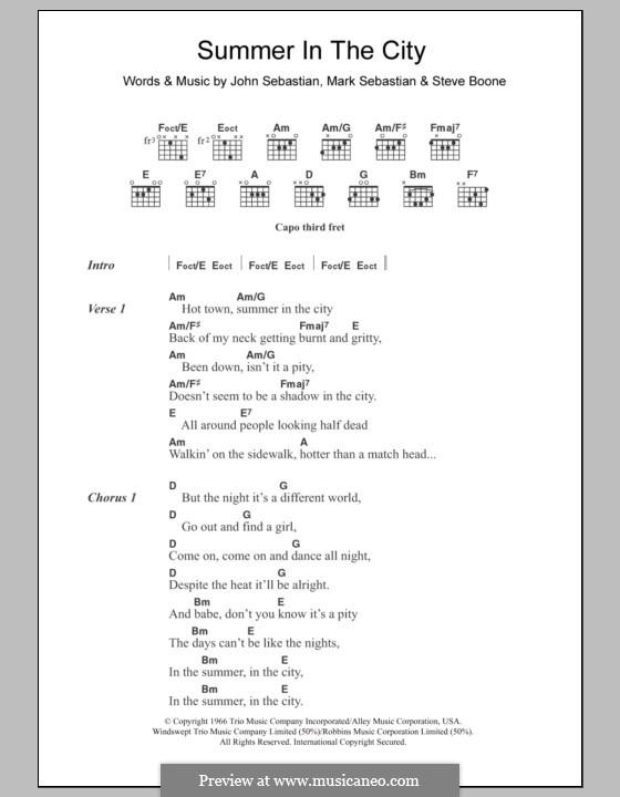 Summer in the City (The Lovin' Spoonful): Lyrics and chords by John B. Sebastian, Mark Sebastian, Steve Boone