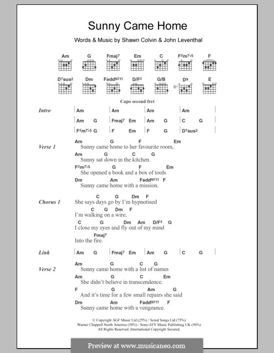 Sunny Came Home By J Leventhal S Colvin Sheet Music On Musicaneo
