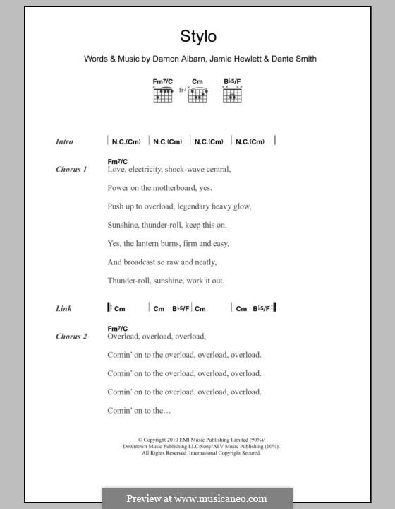 Stylo (Gorillaz): Lyrics and chords by Damon Albarn, Dante Smith, Jamie Hewlett