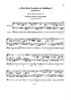 Two Earlier Version of Chorale Preludes, BWV 620a, 631a: Two Earlier Version of Chorale Preludes by Johann Sebastian Bach