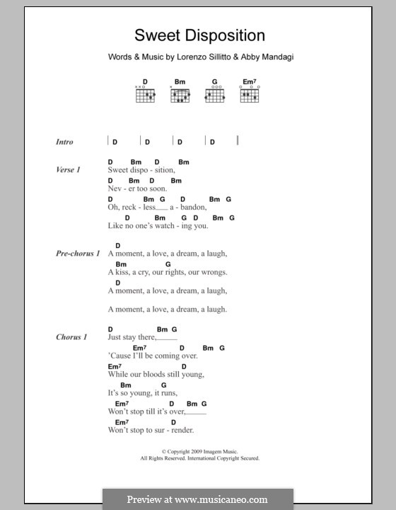 Sweet Disposition (The Temper Trap): Lyrics and chords by Abby Mandagi, Lorenzo Sillitto