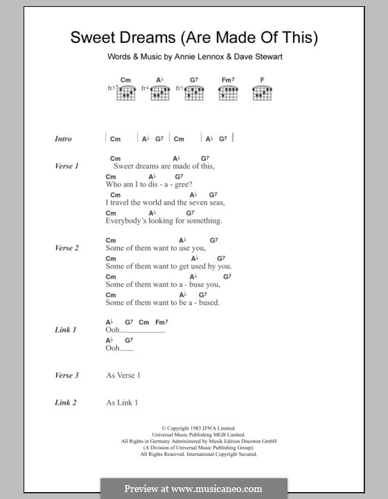 Sweet Dreams (Are Made of This): Lyrics and chords (Eurythmics) by Annie Lennox, David A. Stewart