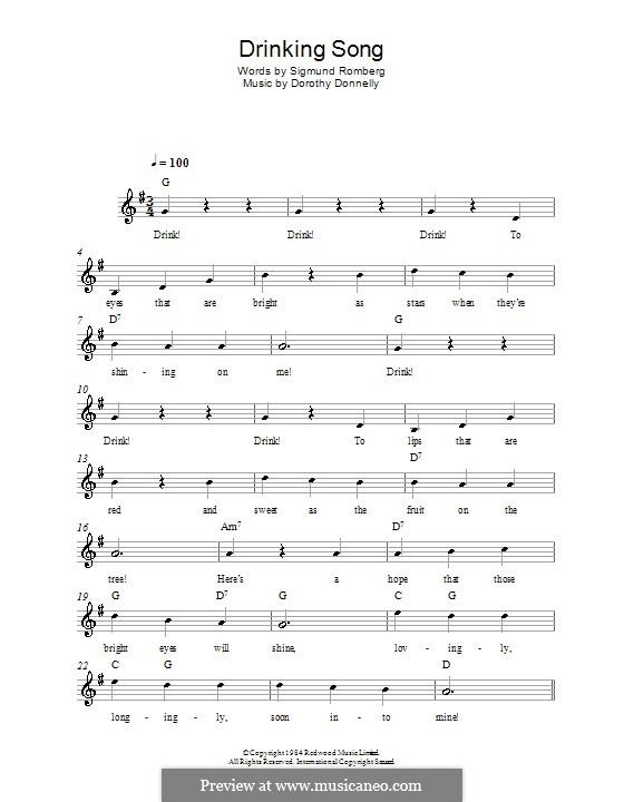 Drinking Song (from The Student Prince): Melody line, lyrics and chords by Dorothy Donnelly