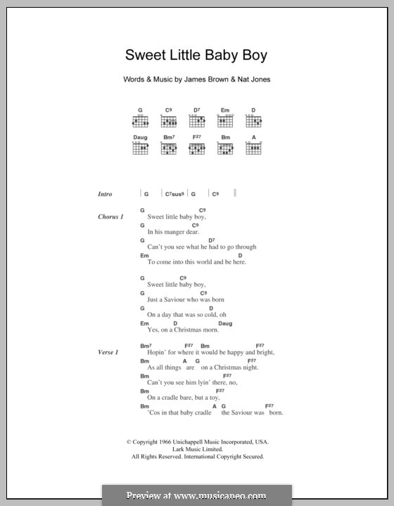 Sweet Little Baby Boy: Lyrics and chords by James Brown, Nat Jones