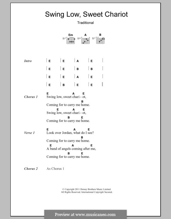 Swing Low, Sweet Chariot: Lyrics and chords by folklore